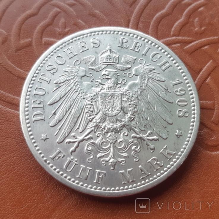 Німецька імперія 5 марок 1908 рік 350-а річниця - Йєнський університет, фото №10