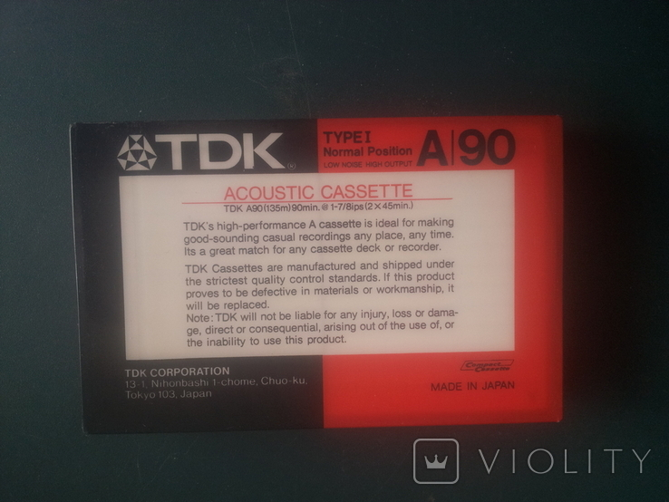 Винтаж. аудиокассета TDK A-90/ Япония., фото №8