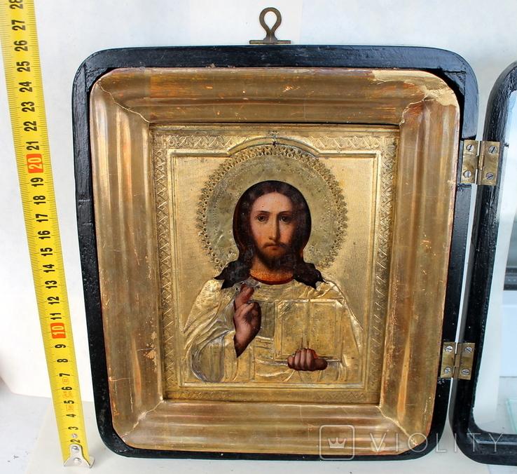 """Икона """"Господь Вседержитель"""" (22см х 25см) - под реставрацию, фото №3"""