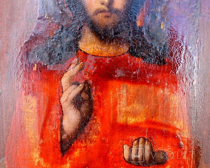 """Икона """"Господь Вседержитель"""" (22см х 25см) - под реставрацию, фото №13"""