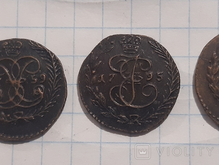 З монеты полушки 1759, 1795 (копии), фото №4