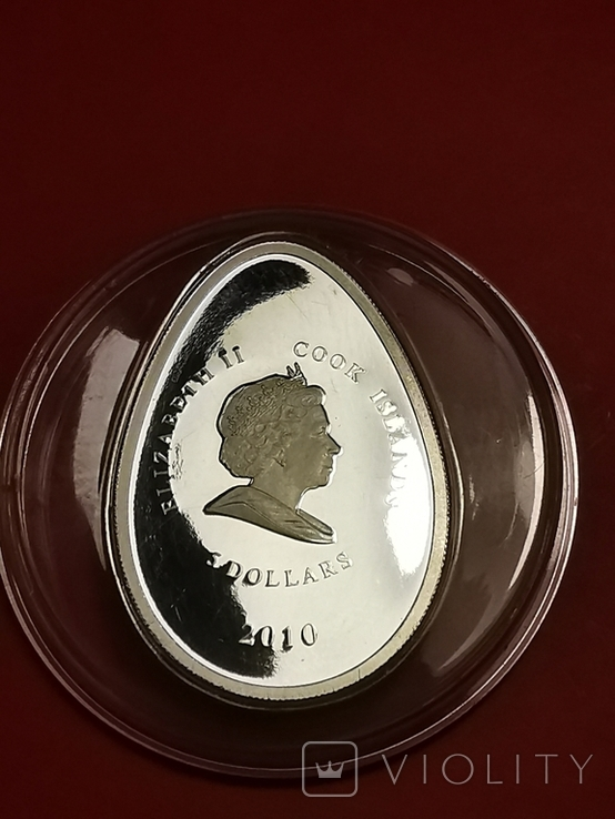 5 долларов острова Кука серебро яйцо Фаберже, фото №3
