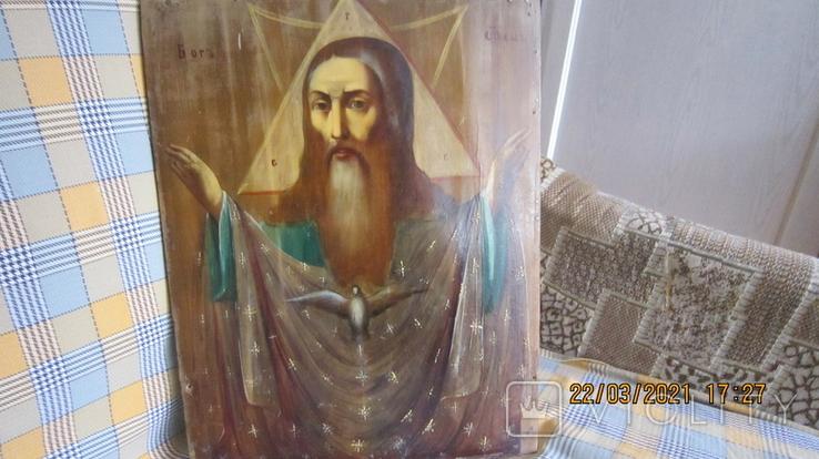 Большая икона 43 x 33,5см Бог Отец и Святой Дух, фото №4