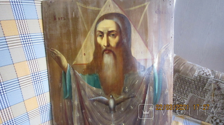 Большая икона 43 x 33,5см Бог Отец и Святой Дух, фото №5