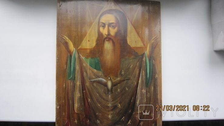 Большая икона 43 x 33,5см Бог Отец и Святой Дух, фото №2