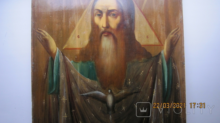 Большая икона 43 x 33,5см Бог Отец и Святой Дух, фото №11