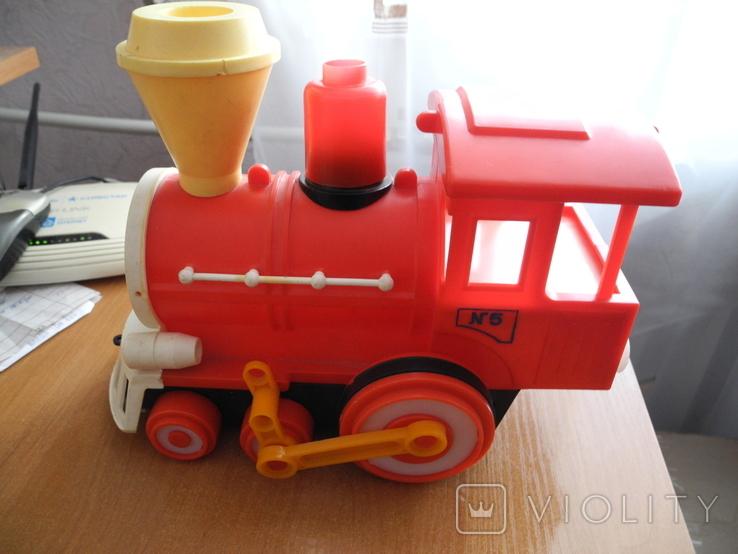 Игрушечный советский паровоз, пластмасса., фото №2