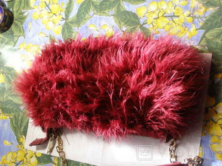 Сумка клатч натуральное перо, фото №3