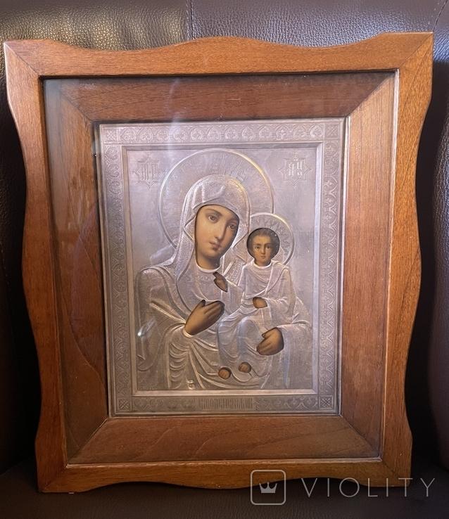 Икона Смоленской Божьей Матери. Серебро 84 начало XX века, фото №2