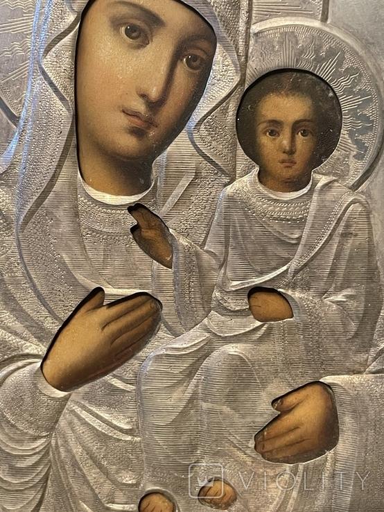 Икона Смоленской Божьей Матери. Серебро 84 начало XX века, фото №7
