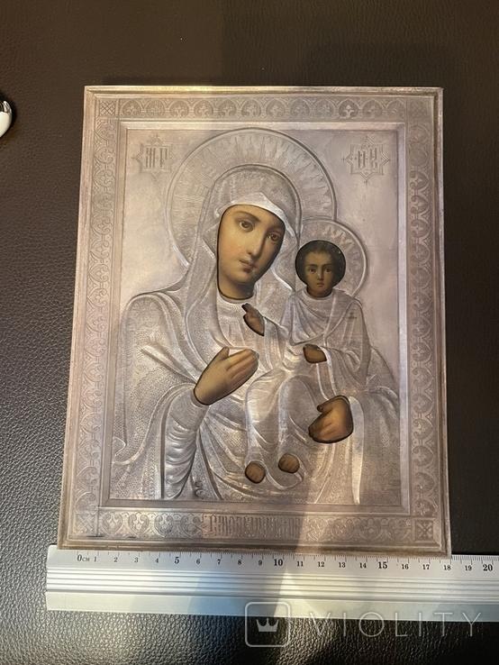 Икона Смоленской Божьей Матери. Серебро 84 начало XX века, фото №9
