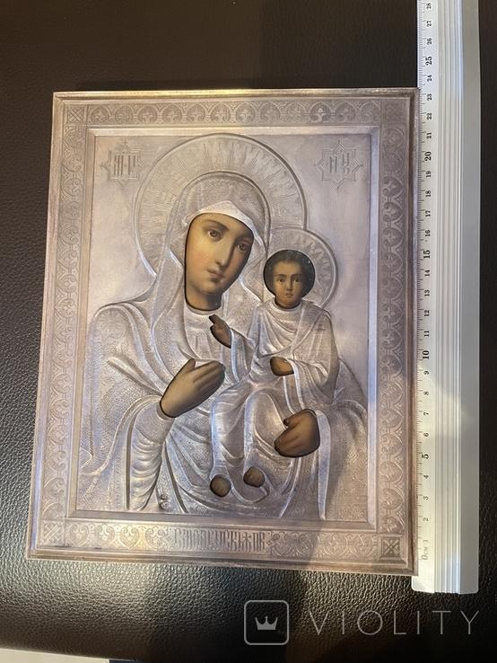 Икона Смоленской Божьей Матери. Серебро 84 начало XX века, фото №10