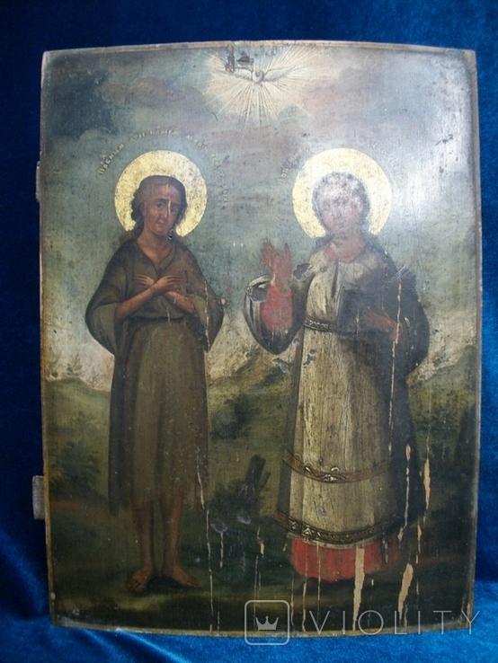 Икона два святых. Дерево, письмо, фото №2