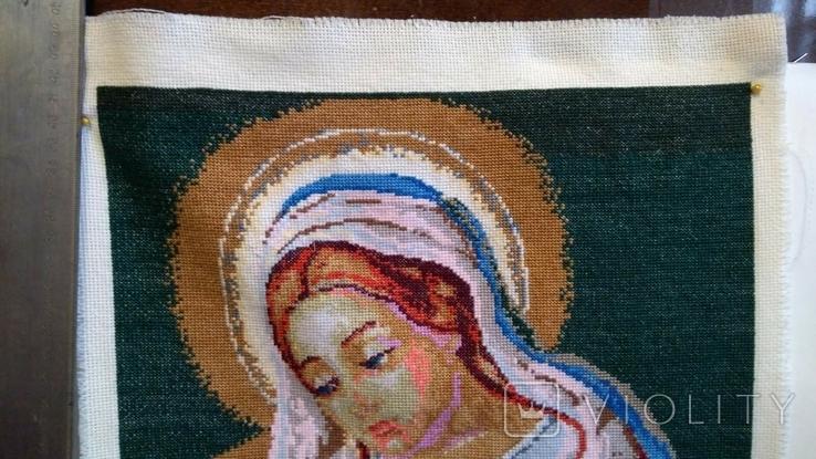 Вышитая икона ручная работа Богородица, фото №5