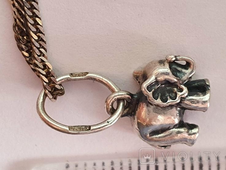 Кулон + цепочка 40 см. Серебро 925 проба. Слоненок., фото №4