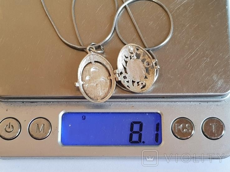 Нательная иконка + цепочка 50 см. Серебро 925 проба., фото №10
