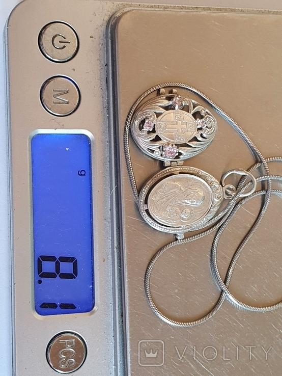 Нательная иконка + цепочка 50 см. Серебро 925 проба., фото №11