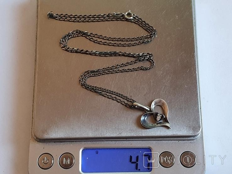 Подвес в виде сердечка + цепочка длина 60 см. Серебро 925., фото №9