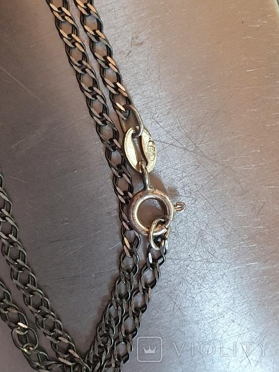 Подвес в виде сердечка + цепочка длина 60 см. Серебро 925., фото №11
