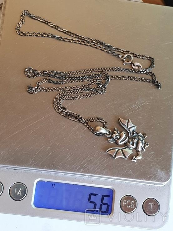 Подвес в виде дракончика + цепочка 60 см. Серебро 925 проба., фото №10