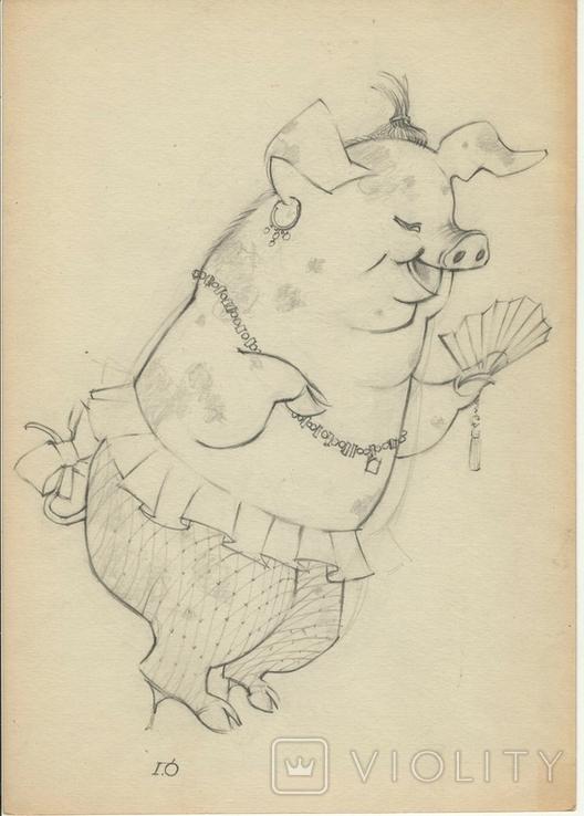"""2 шаржа"""" Чиновница - свинья и колхозная корова.""""худ. Г. М. Орлов, фото №2"""
