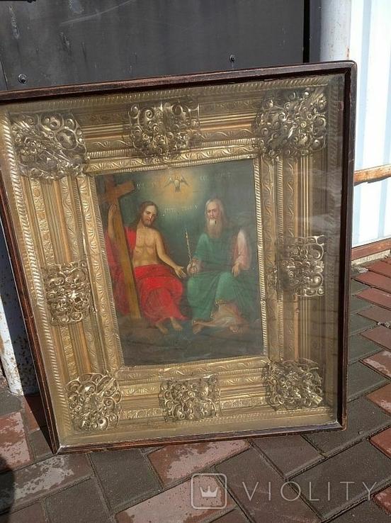 Святая Троица - старинная икона ( 60 на 70 см), фото №2
