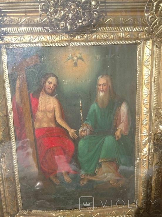 Святая Троица - старинная икона ( 60 на 70 см), фото №4