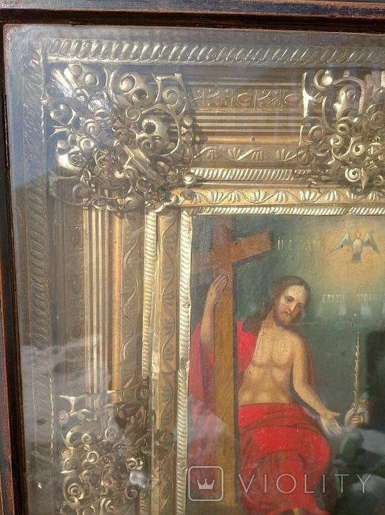 Святая Троица - старинная икона ( 60 на 70 см), фото №5