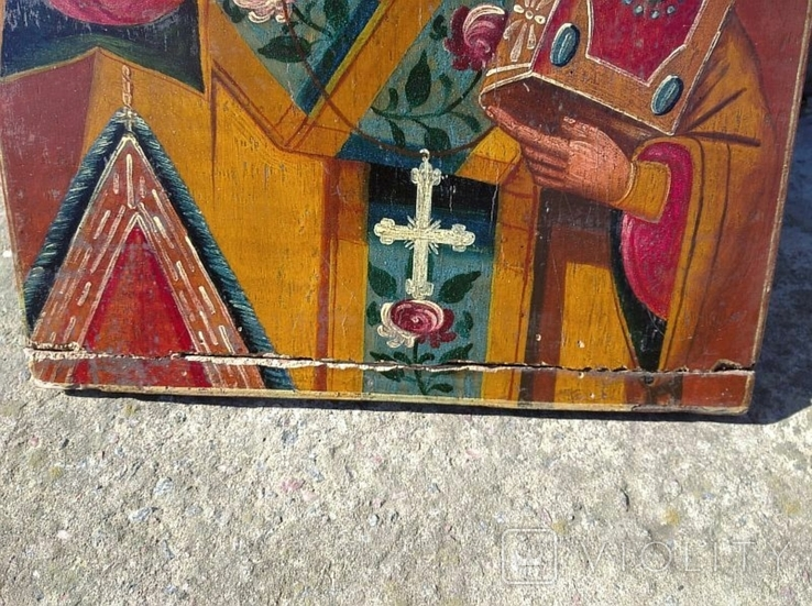 Святой Николай - старинная икона ( 30 на 39 см ), фото №5