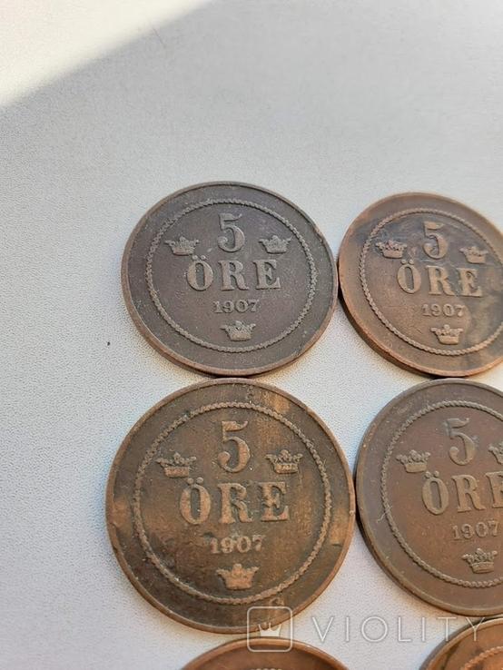 5 Оре 1907, Швеція. 10 шт., фото №7