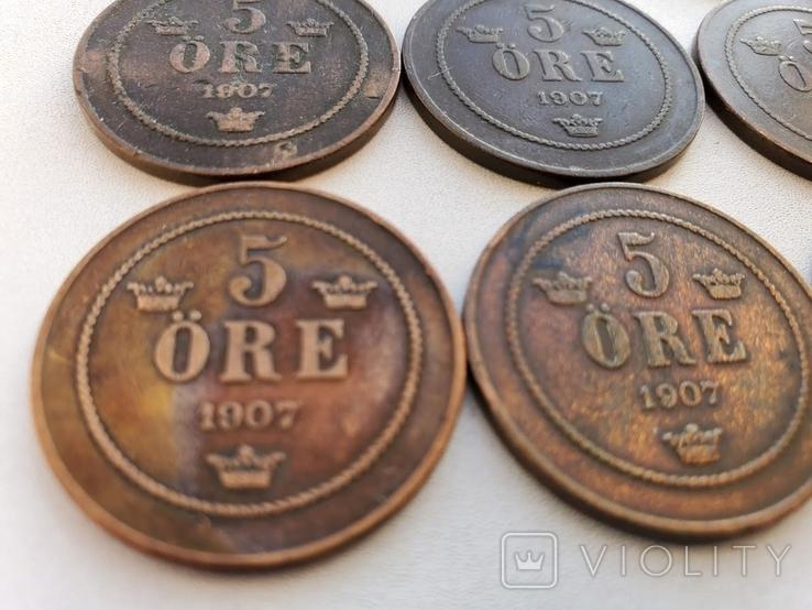 5 Оре 1907, Швеція. 10 шт., фото №8