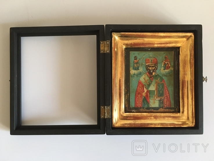 Старинная икона Св. Николая Чудотворца, фото №3