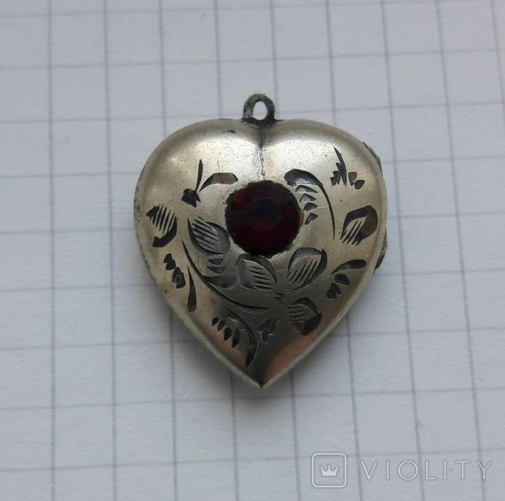 Кулон в форме сердечка Советского периода, 875, 5,7 грамм, фото №2