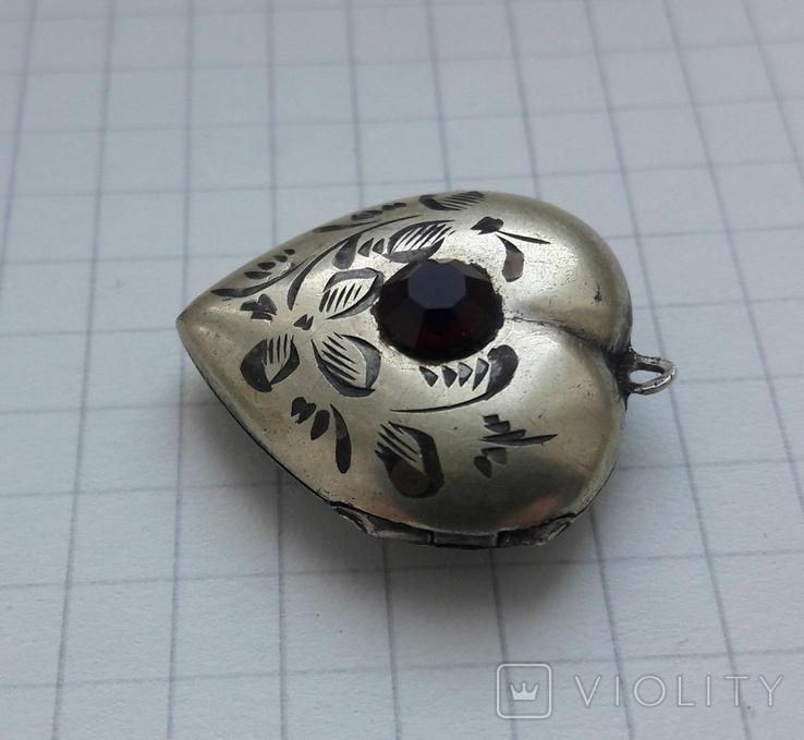Кулон в форме сердечка Советского периода, 875, 5,7 грамм, фото №4