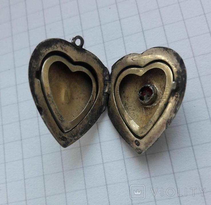 Кулон в форме сердечка Советского периода, 875, 5,7 грамм, фото №7