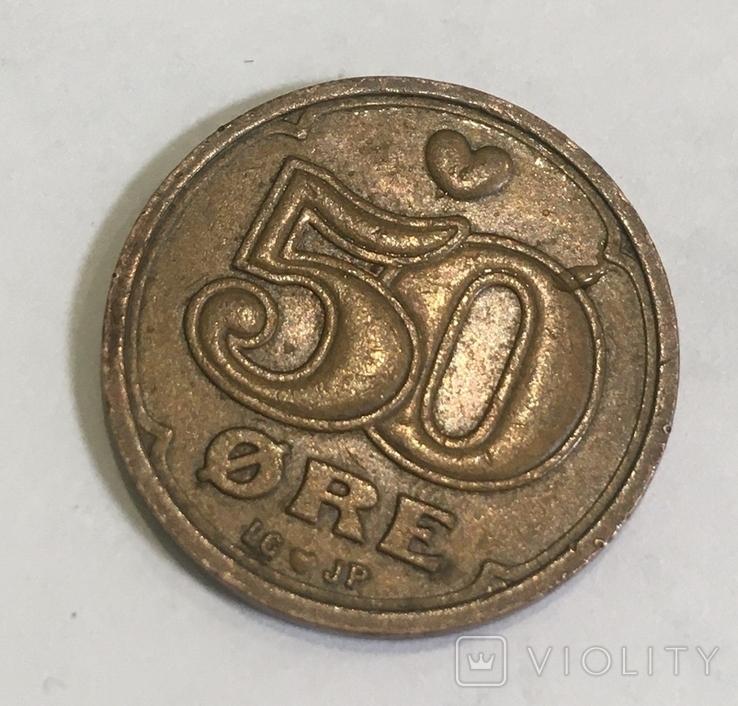 Монета Дании 50 ере, фото №2
