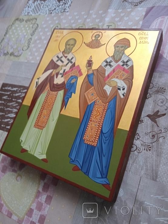 Икона Св.Николай чудотворец и Спиридон тримифунский писанная ручной работы, фото №2
