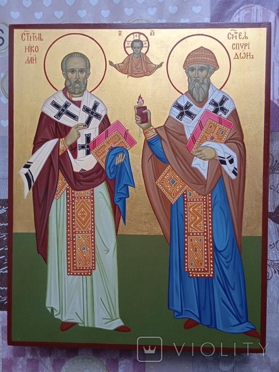 Икона Св.Николай чудотворец и Спиридон тримифунский писанная ручной работы, фото №5