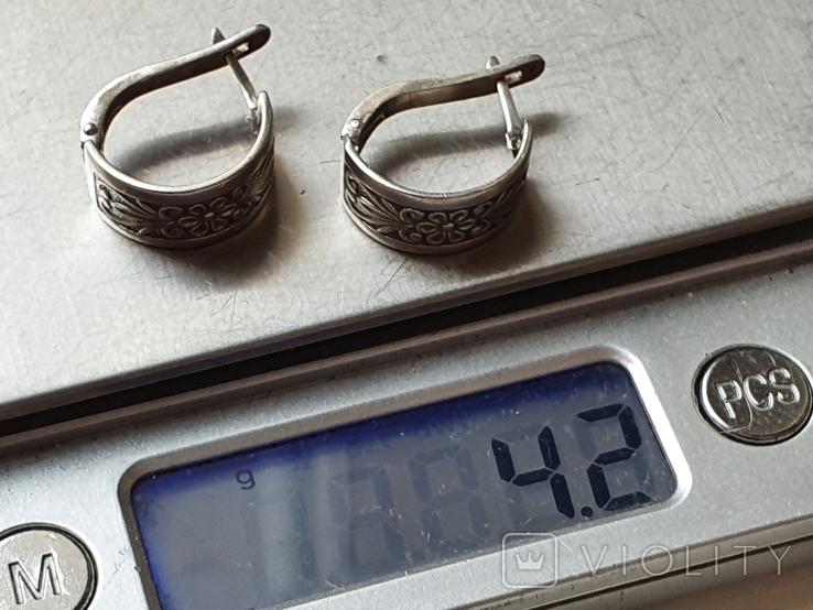 Советские серьги. Серебро 875 проба., фото №6