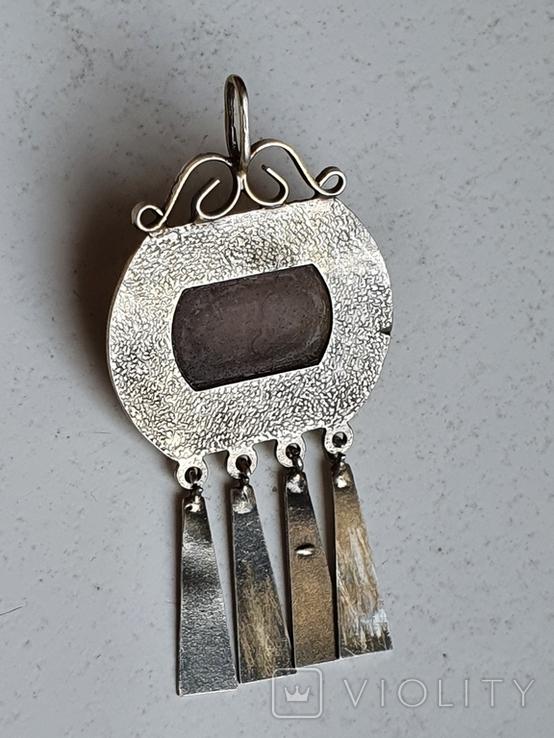 Советский подвес. Серебро 875 проба. Камень. Позолота., фото №4