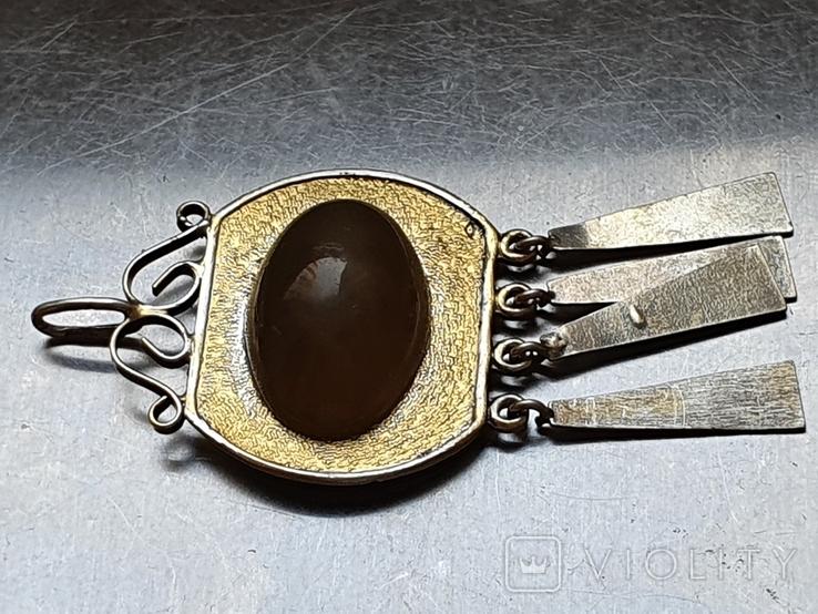Советский подвес. Серебро 875 проба. Камень. Позолота., фото №6