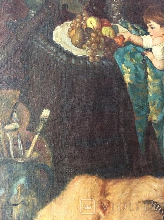 Картина В мастерской художника копия ,старая, фото №3
