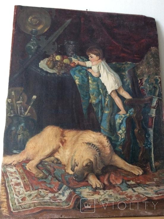 Картина В мастерской художника копия ,старая, фото №7