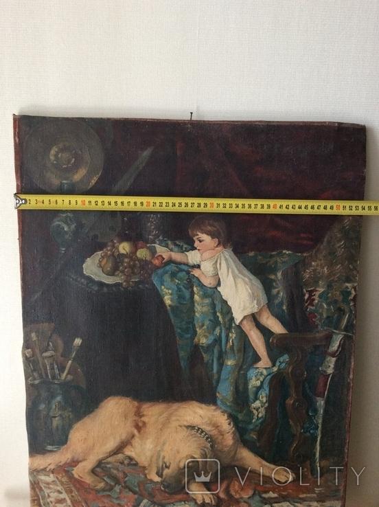 Картина В мастерской художника копия ,старая, фото №10