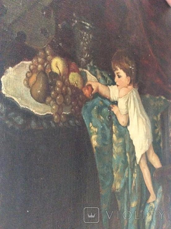 Картина В мастерской художника копия ,старая, фото №11