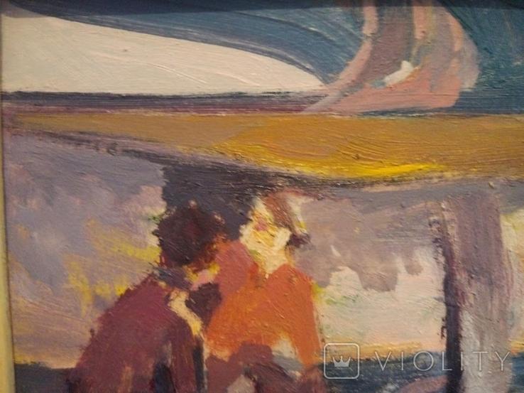 """1980,Кнышевский В.""""Авиаторы"""",к.м.30*39см, фото №4"""