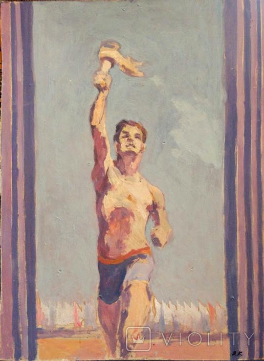 """1980,Кнышевский В.""""Олимпийский огонь""""орг.м.65*49см, фото №2"""