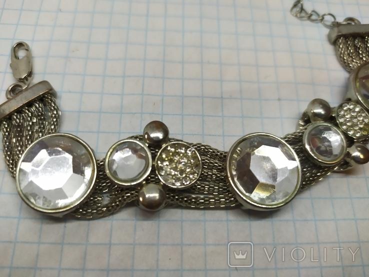 Браслет на витых полых цепочках с декором из камней. (3), фото №4