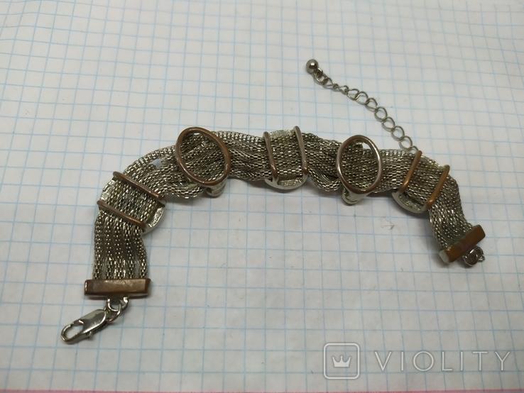 Браслет на витых полых цепочках с декором из камней. (3), фото №7