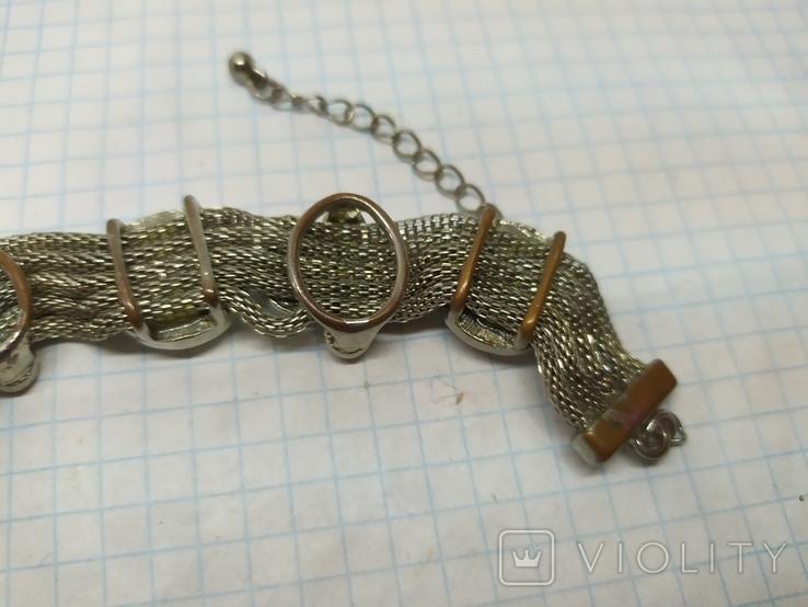 Браслет на витых полых цепочках с декором из камней. (3), фото №8